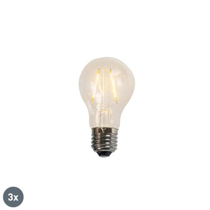 3-kvēldiega-LED-spuldžu-komplekts-A60-2W-2200K-caurspīdīgs