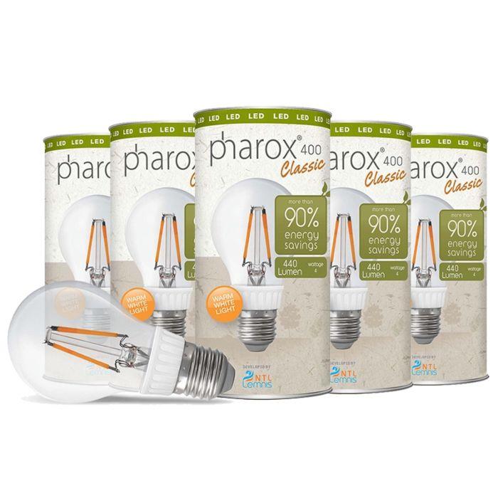Pharox-LED-spuldze-400-Classic-E27-4W,-5-komplekti