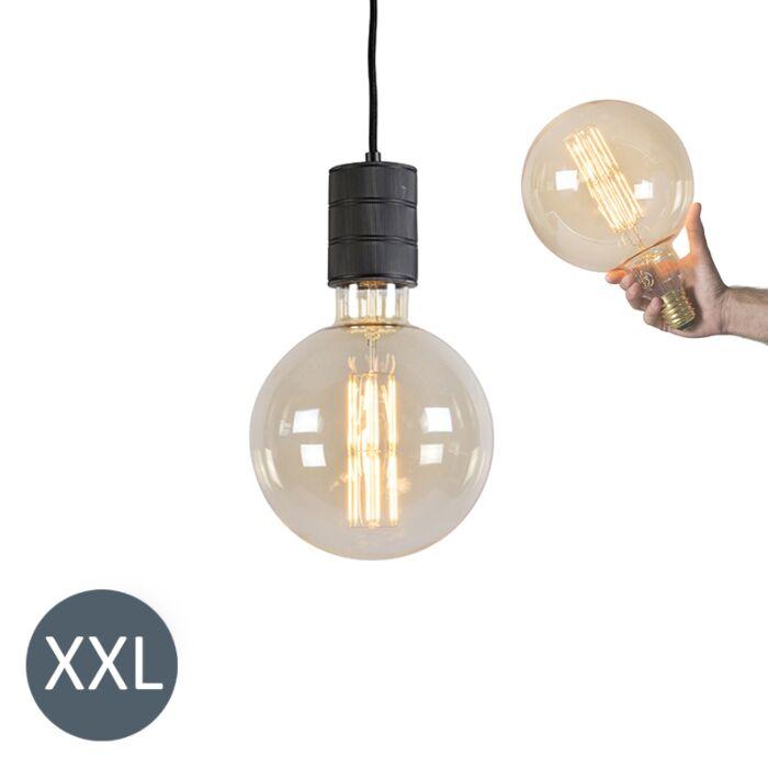 Piekaramā-lampa-Megaglobe-melna-ar-regulējamu-LED-lampu