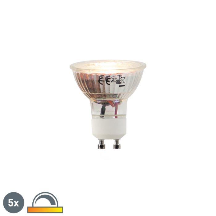 5-LED-spuldžu-komplekts-GU10-5W-2000-2700K-Dimmēt,-lai-sasildītos