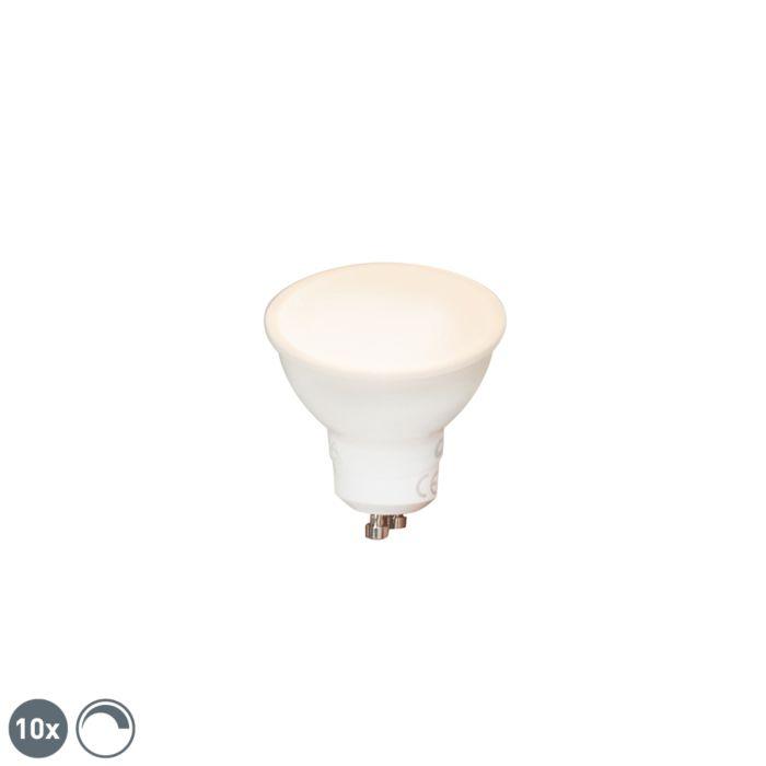 10-GU10-regulējamo-LED-spuldžu-komplekts-6W-450-lm-2700K
