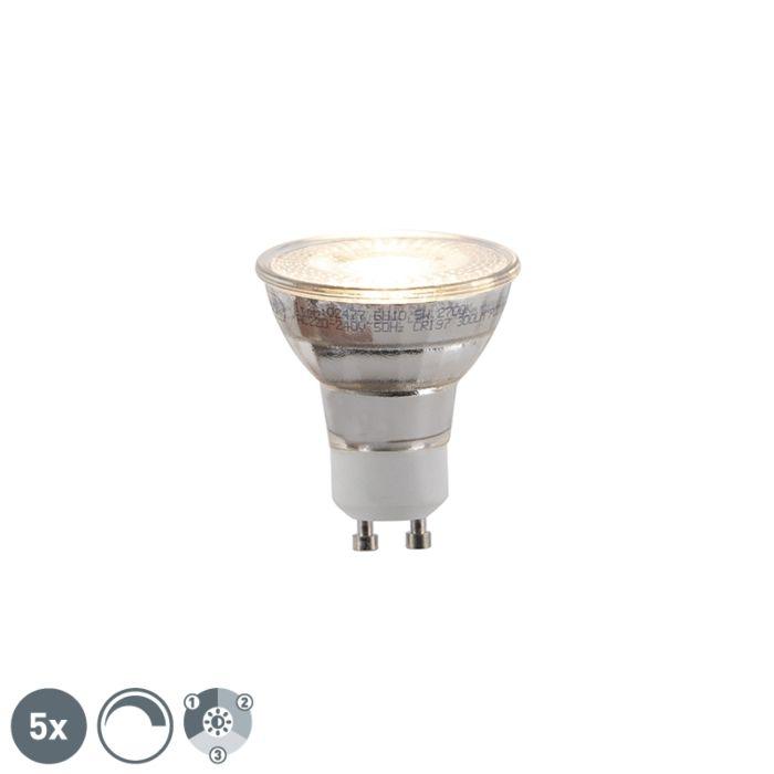 5-GU10-trīspakāpju-regulējamo-LED-spuldžu-komplekts-5W-300lm