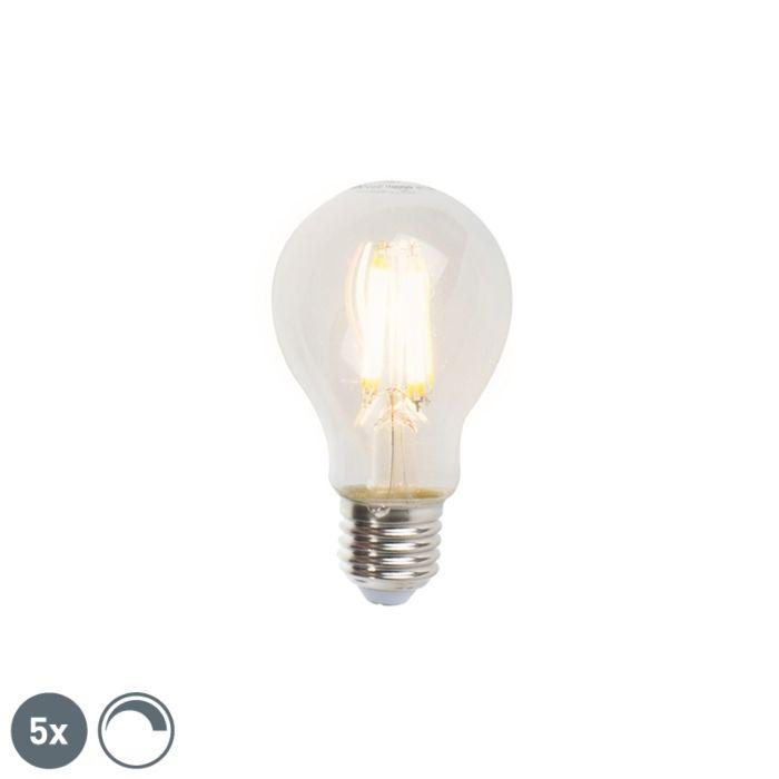 5-E27-regulējamo-LED-kvēlspuldžu-komplekts-A60-7W-806lm-2700K