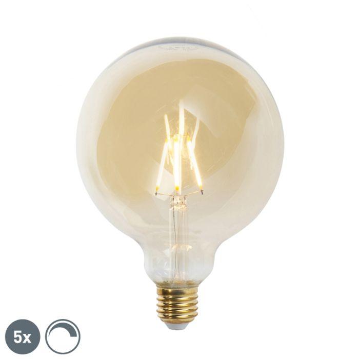 5-E27-regulējamo-LED-kvēlspuldžu-komplekts-G125-goldline-2200K