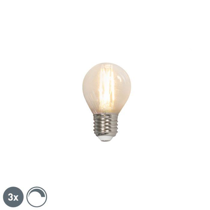 3-LED-kvēlspuldžu-lampu-komplekts-E27-240V-3,5W-350lm-P45-regulējams