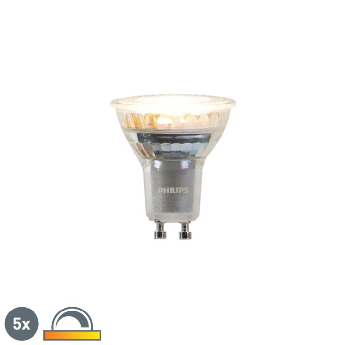 5-GU10-blāvu-un-siltu-Philips-LED-spuldžu-komplekts-3,7-W-260-lm