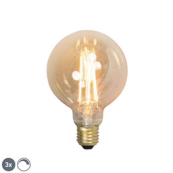 3-E27-regulējamo-LED-kvēlspuldžu-komplekts-G95-goldline-2100K