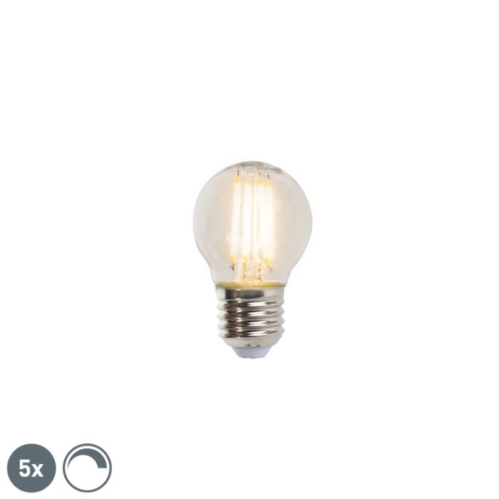 5-E27-regulējamo-LED-kvēlspuldžu-lampu-komplekts-5W-470lm-2700K