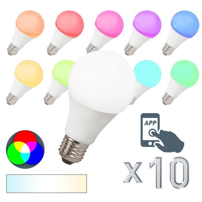 10-LED-lampu-komplekts-E27-240V-7W-500lm-A60-Smart-Light