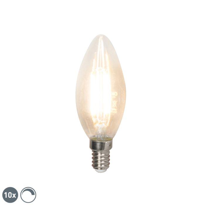 10-LED-kvēldiega-sveču-lampu-komplekts-E14-240V-3,5W-350lm-B35-regulējams