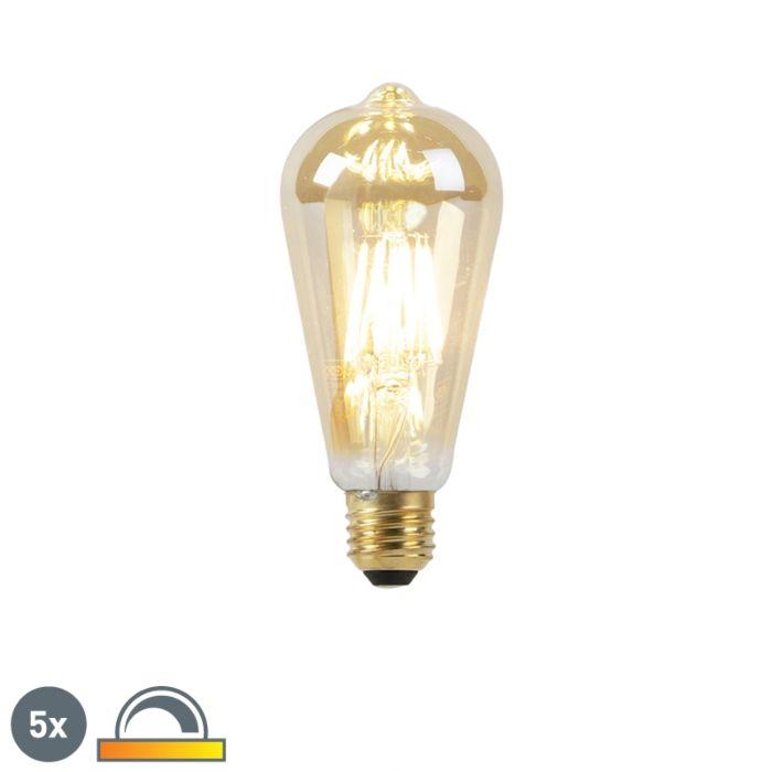 5-E27-LED-spuldžu-komplekts-8W-2000-2600K-blāvi-līdz-siltai-zelta-līnijai