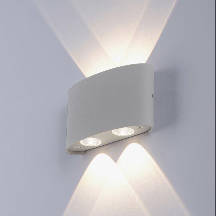 Mūsdienu-sienas-lampa-pelēka,-ieskaitot-LED-IP54---Wendy