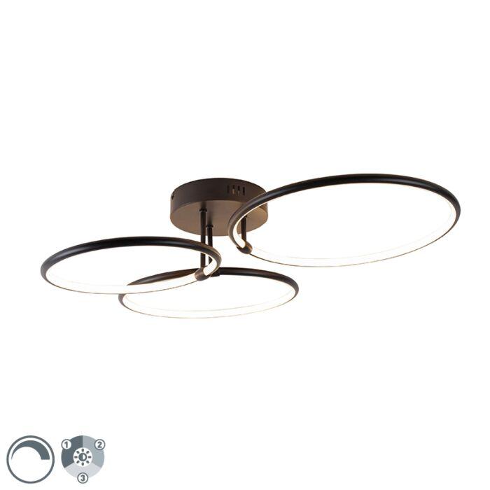 Dizaina-griestu-lampa-melna,-ieskaitot-LED-trīspakāpju-aptumšojamo-3-gaismu---Joaniqa