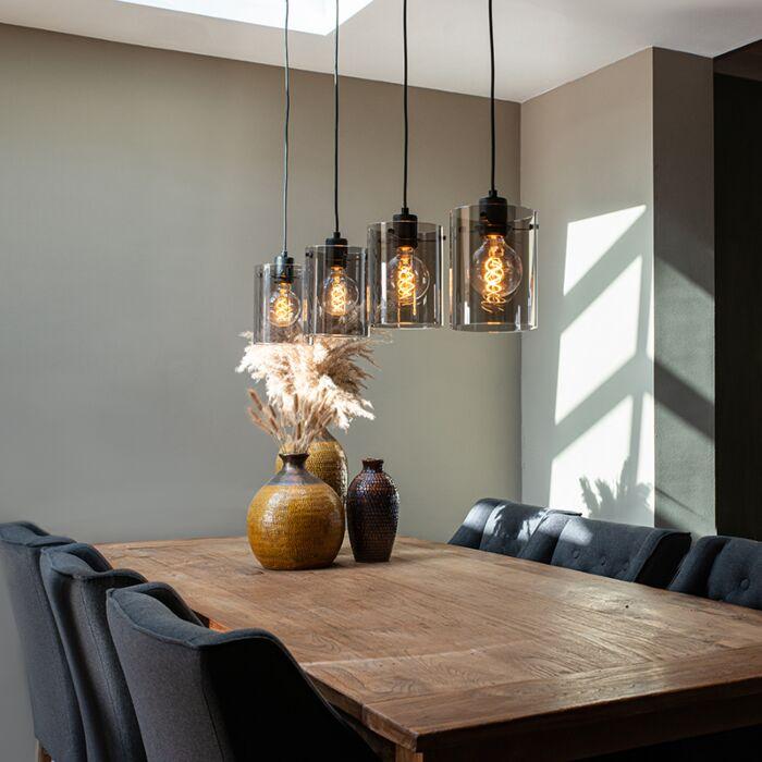 Dizaina-piekarināmā-lampa-melna-ar-dūmu-stiklu-4-gaismām---Dome