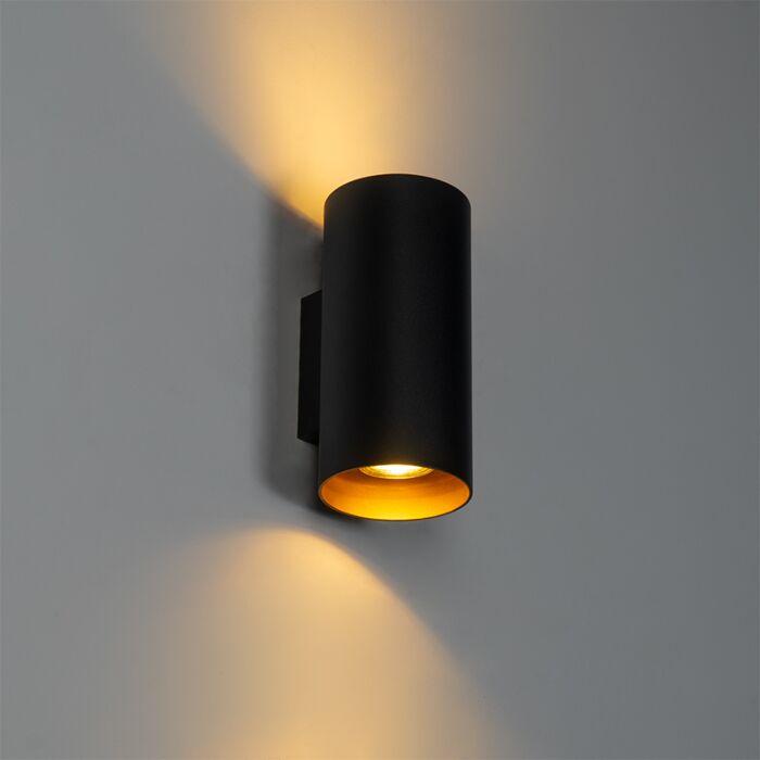 Dizaina-sienas-lampa-melna-ar-zeltu---Sab