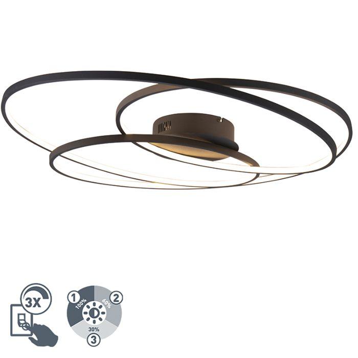Griestu-lampa-melna-80-cm,-ieskaitot-LED-trīspakāpju-regulējamu---Rowin