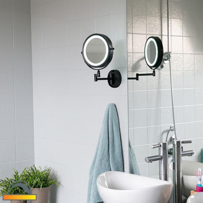Dizaina-vannas-istabas-spogulis-melns-ar-regulējamu-LED-IP44---Vicino