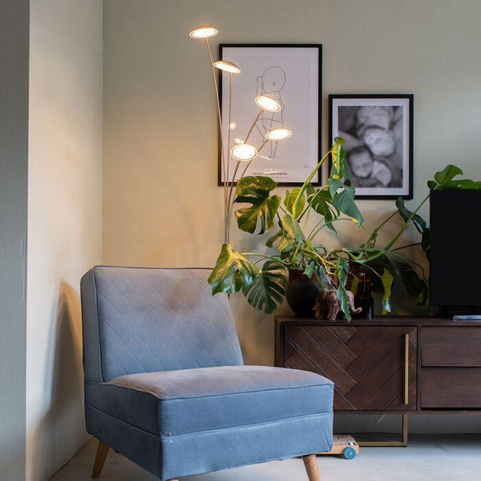 Dizaina-grīdas-spuldzes-tērauda-5-gaismas,-ieskaitot-LED---sešdesmito-gadu-Trento