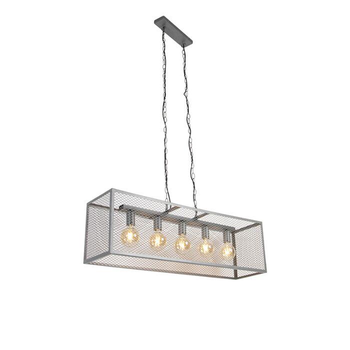 Rūpnieciskā-piekarināmā-lampa,-antīkā-sudraba-5-gaismas---Cage-Robusto