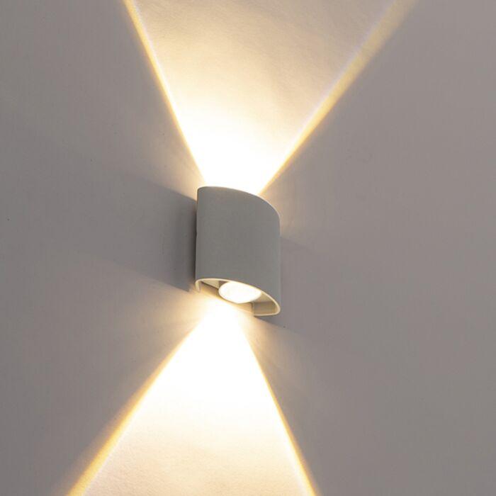 Dizaina-āra-sienas-lampa-sudrabs,-ieskaitot-LED-2-gaismas---Silly