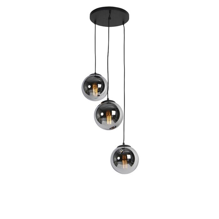 Art-Deco-piekarināmā-lampa-melna-ar-dūmu-stiklu-3-gaismām---Pallon