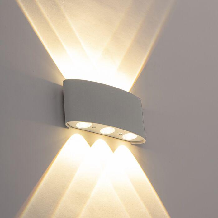 Dizaina-āra-sienas-lampa-sudrabs-ar-LED-6-gaismām---Silly