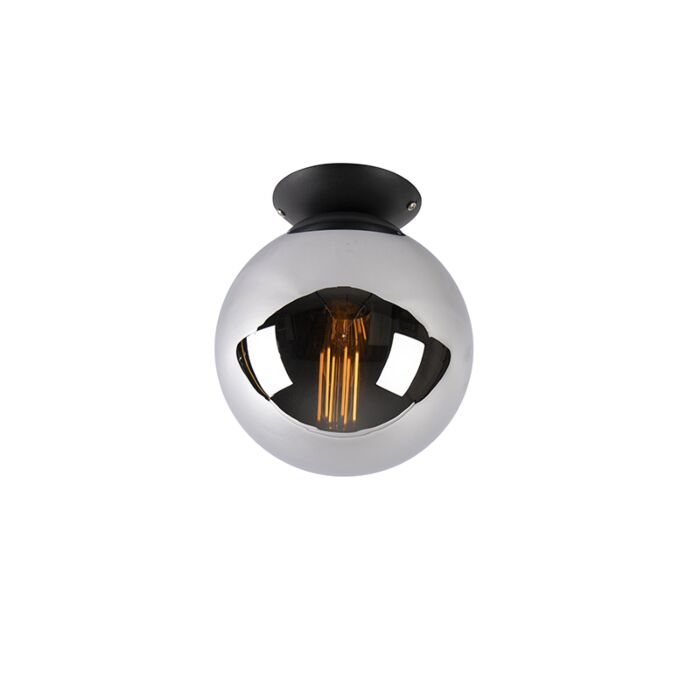 Art-deco-griestu-lampa-melna-ar-dūmu-stiklu---Pallon