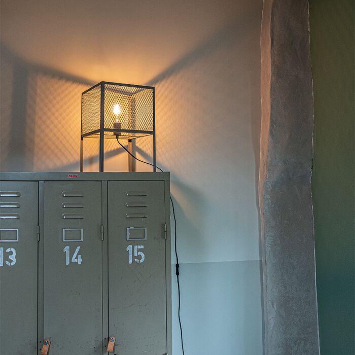 Rūpnieciskā-galda-lampa-antīks-sudrabs---Cage-Robusto