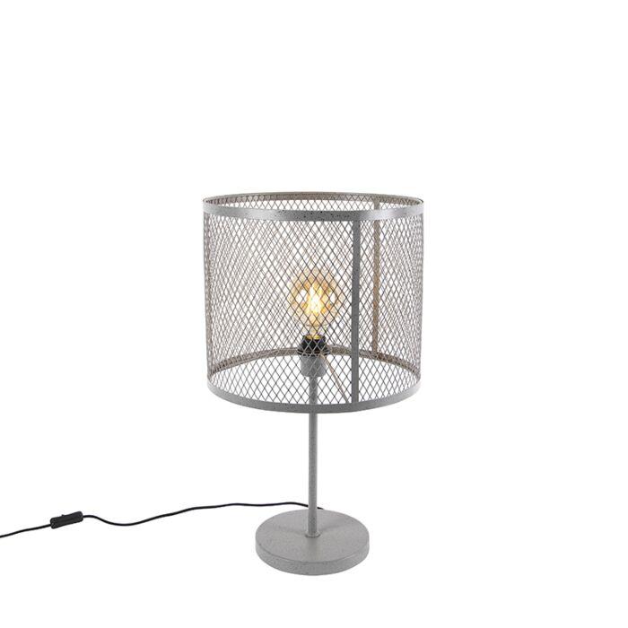 Rūpnieciska-apaļa-galda-lampa-antīks-sudrabs---Cage-Robusto
