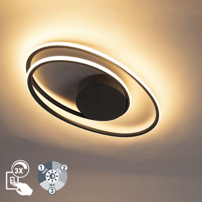 Dizaina-griestu-lampa-melna,-ieskaitot-LED-trīs-pakāpienu-regulējamu---Rowan