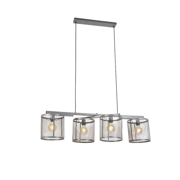 Rūpnieciskā-piekarināmā-lampa,-antīkā-sudraba-4-gaisma---Cage-Robusto